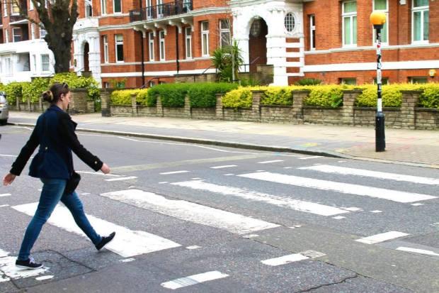 Briana taking a stroll across Abbey Road in London.