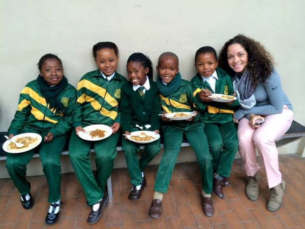 Farrah with students from the school they visited in South Africa.