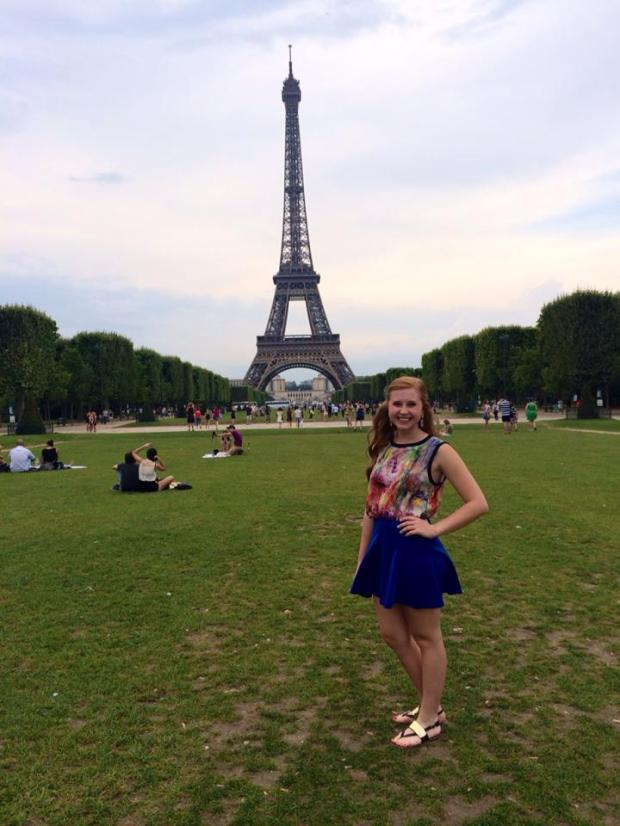 Kelly in front of the Eiffel Tower in Paris!